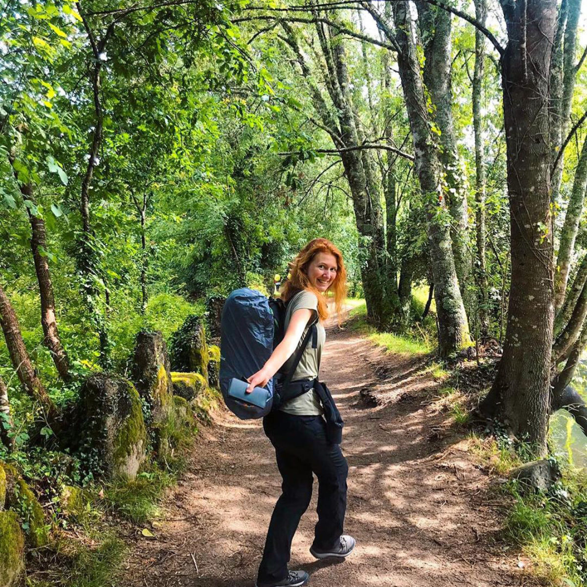 Solo travel in forest, Portugal