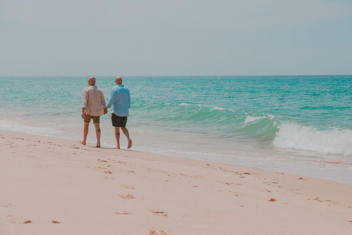 Walking alongside the beach