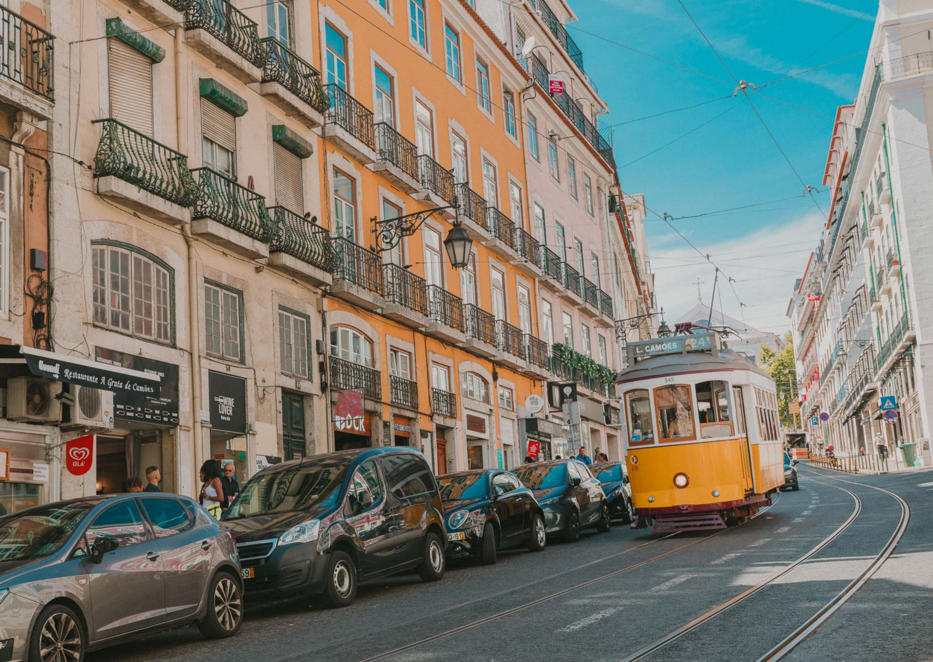 Traditional Yellow tram in Lisbon streets, Portugal
