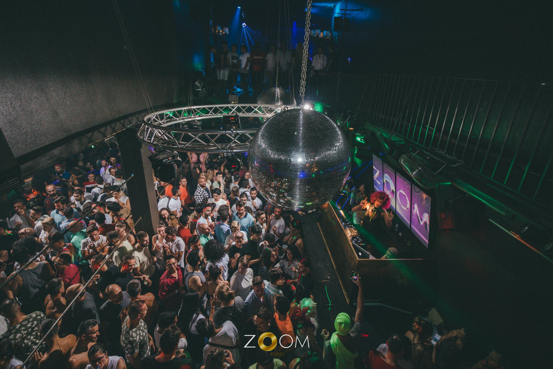 Crowd of people dancing at Zoom Club, Porto, Portugal
