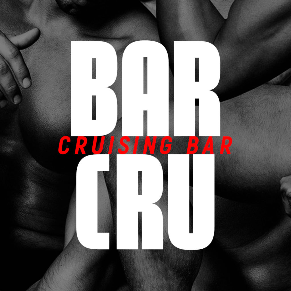Bar Cru - Cruising Bar logotype with male body in background, Lisbon, Portugal