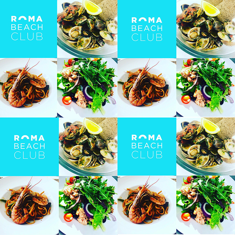 Mix of food from Roma Beach Club at Costa da Caparica, Portugal