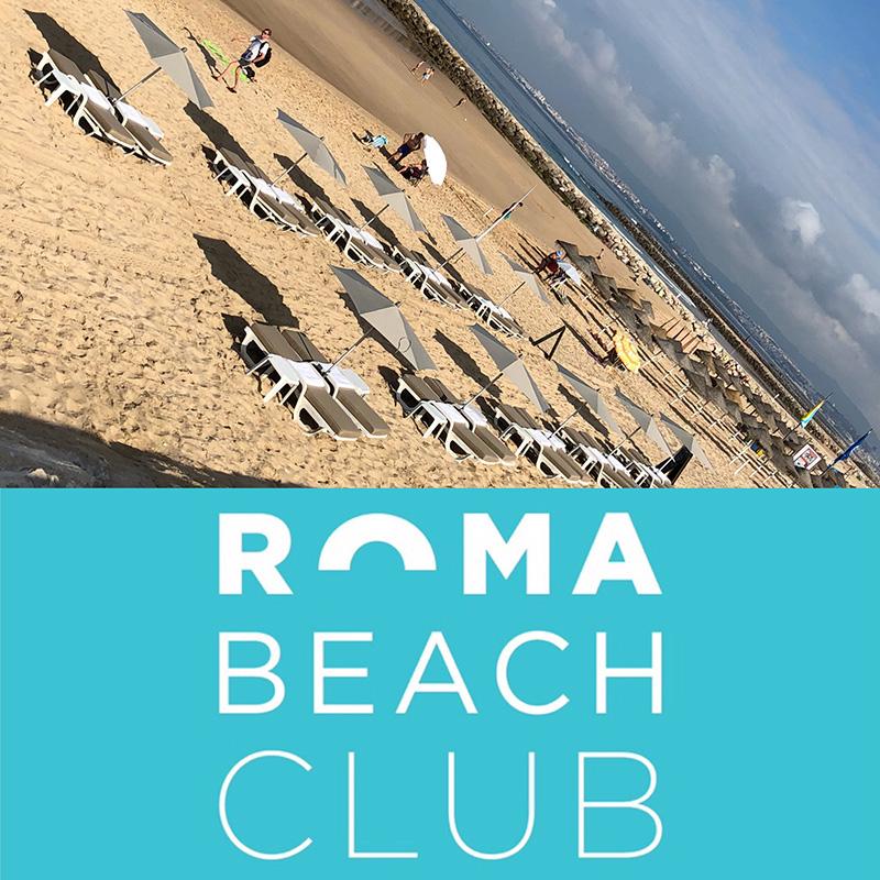 Sea shore front of Roma Beach Club at Costa da Caparica, Portugal