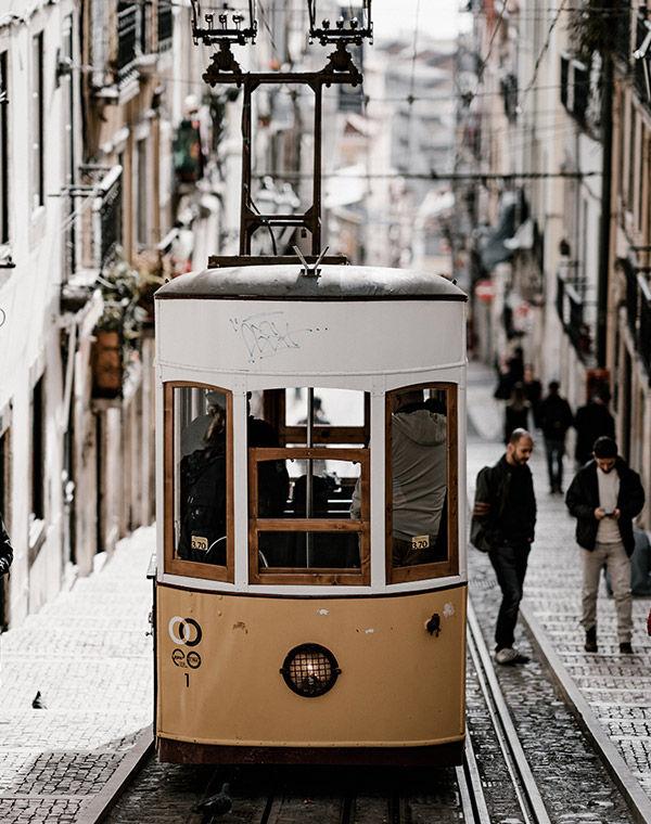 Traditional yellow tram in Lisbon